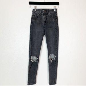 Topshop    Jaime Black High Rise Skinny Jeans